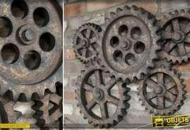 Engrenages décoratifs anciens effet vieilli pour décoration murale de style industriel