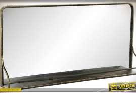 Miroir mural de style industriel et rétro en métal finition dorée avec étagère
