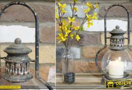Reproduction d'une lanterne rétro en verre et métal finition vieillie