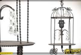 Lampe de table en métal façon fer forgé torsadé en forme de cage à oiseaux rétro avec pampilles