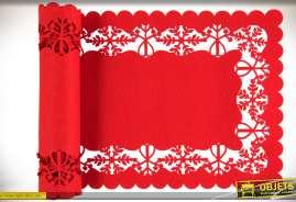 Chemin de table rectangulaire, en feutre ajouré, motifs Noël, coloris rouge