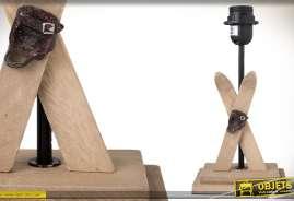 Pied de lampe décoratif en bois sur le thème du ski