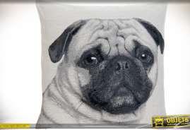 Gande taie de coussin en 60 x 60 avec illustration chien en noir et blanc