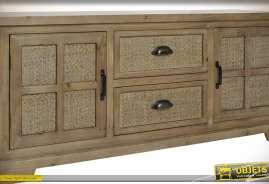 Meuble TV de style rustique et naturel avec deux portes et deux tiroirs centraux