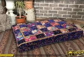 Très grand coussin de sol en coton, de style indien avec motifs graphique en patcwork