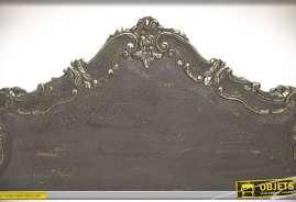 Grande tête de lit en bois massif de manguier style baroque avec finition gris foncé et doré