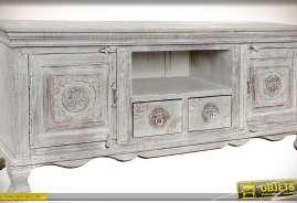 Meuble TV romantique finition rétro, patine blanche à l'ancienne, 2 portes, 2 tiroirs.