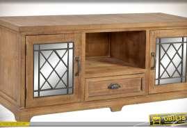 Grand meuble TV en sapin vieilli et métal, deux portes, un tiroir et une niche multimédia