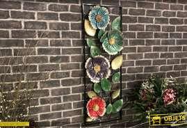 Encadrement de fleurs en relief en métal finition brillante multicolore 102 cm