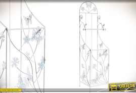 Elégant porte-rouleaux papier WC avec bac réserve à papier, réalisé en métal façon fer forgé, à motifs de papillons et de fleurs, coloris blanc vieill
