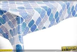 Nappe carrée en coton à motifs bleu sur fond blanc, traitement anti-tâches