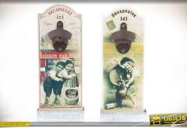 Pratiques et décoratifs, ces deux décapsuleurs se fixent au mur et apportent une touche rétro et vintage à votre cuisine.