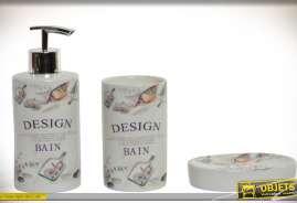 Ensemble de trois accessoires en porcelaine pour salle de bain et ABS chromé, distributeur de savon liquide, verre à dents et porte-savon.