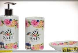 Ensemble doseur, verre et porte savon en porcelaine, pour salle de bain, à motifs colorés et fleuris.