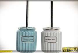 Ensemble de 2 balayettes pour toilettes avec leur pot décoratif en céramique, blanche et bleu horizon.