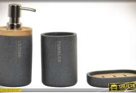Ensemble de trois accessoires, distributeur de savon liquide, verre à dents et porte-savon, en bambou naturel et résine imitation marbre coloris gris