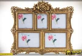 Cadre photos en pêle-même avec encadrement d'inspiration baroque et romantique, finition dorée à l'ancienne et ornementation florales en relief.