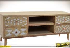 Meuble TV original en bois naturel finition cirée avec 4 tiroirs à motifs géométriques blancs et bois naturel esprit Art Déco et deux niches centrales