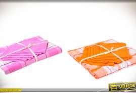 Nappes à carreaux en coton avec serviettes de tables assorties, 1 lot rose et blanc, 1 lot orange et blanc.