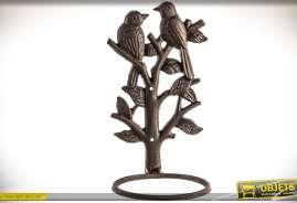 Ensemble de 2 supports décoratifs muraux pour pots de fleurs, en fonte aspect vieilli, thème oiseaux et feuillages.