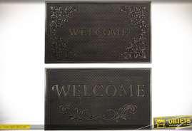 Ensemble de deux paillassons pour portes d'entrée, motifs fleuris stylisés, couleur noire.