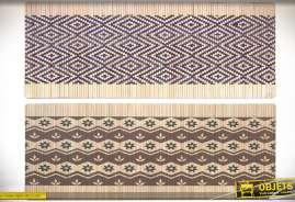 Ensemble de deux paillassons en caoutchon en 90 x 35 cm coloris bambou et motifs graphiques