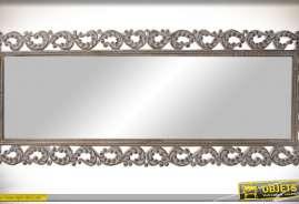 Miroir mural rectangulaire horizontal avec encadrement ajouré, de style ancien et baroque, bois ancien effet blanchi et vieilli