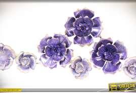 Grande fresque murale et florale en métal fleurs en relief coloris lilas et améthyste.