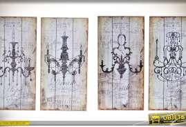 Quatre décorations murales de style rétro et vintage sur bois blanc vieilli, en 48 x 24 cm, représentant quatre anciens lustres de style baroque.