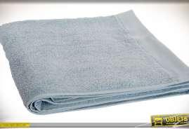 Ensemble de 4 serviette en coton, effet tissu éponge, coloris bleu aspect vieilli.