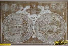 Grande et très ancienne mappemonde présentée en forme de tableau sur bois aspect très ancien.