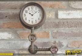 Horloge façon pipeline en métal oxydé, 1 cadran