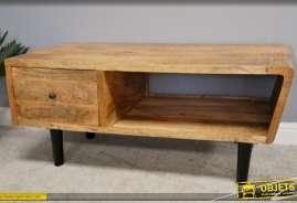 Meuble télé de style moderne en bois de manguier finition naturelle