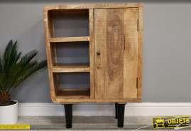 Meuble de salon en bois de manguier, rangements et porte style moderne