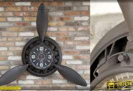 Horloge murale géante en forme d'hélice d'avion en métal vieilli