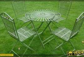 Ensemble salon de jardin avec une table ronde et 4 chaises en fer forgé de couleur verte
