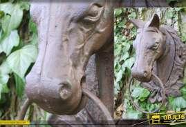 Tête de cheval, trophée déco mural, en métal patine antique