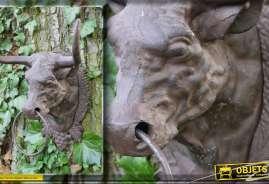 Tête de vache cornue en métal patine antique oxydée