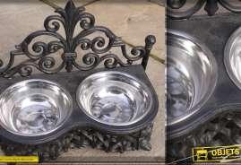 Gamelle en fer forgé et inox pour petits chiens étagère L