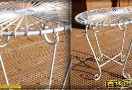 Table ronde fer forgé Art Déco blanche