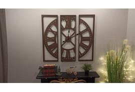 Horloge murale en métal, avec cadran en triptyque, en métal marron ancien style rétro et indus