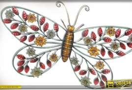 Décoration murale en métal Papillon aux couleur d'automne