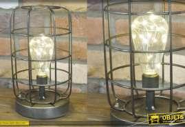 Lampe de bureau en metal, eclairage d'ambiance industriel à piles