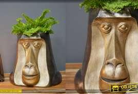 Tête de singe en résine creuse pour plante verte, usage intérieur ou ext