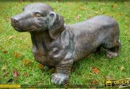 Sculpture de teckel, imitation pierre, pour intérieur ou extérieur (hauteur 33 cm)