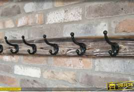 Support pour vêtements en bois et métal finition rustique naturel et blanchi