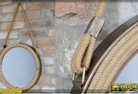Miroir rond à suspendre, metal et corde theme bateaux, patine bronze