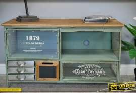 Muble TV rétro industriel en bois et métal avec portes vitrées et tiroirs