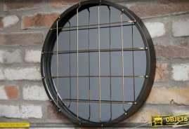 Miroir circulaire en métal style indus avec grille métallique, effet hublot industriel