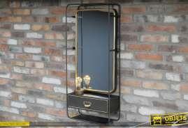 Haute étagère murale en métal avec  miroir à encadrement doré style vintage et industriel